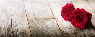 Наклейка Валентина карты - Солнечный свет на две розы в любви