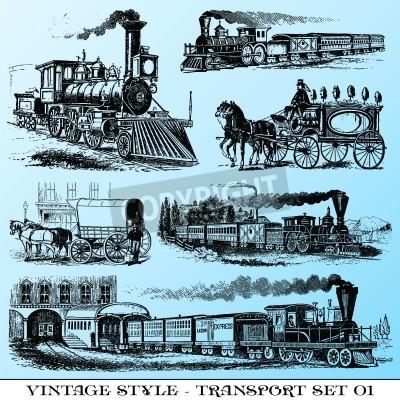 Наклейка различные иллюстрации в стиле ретро - древний транспортный набор
