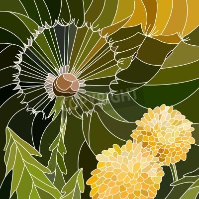 Наклейка Вектор абстрактные мозаика с крупными ячейками группы одуванчика на зеленый.