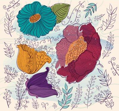 Наклейка Вектор фон с красивыми яркими цветами и листьями
