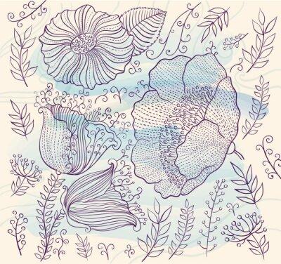 Наклейка Вектор фон с красивыми цветами и листьями