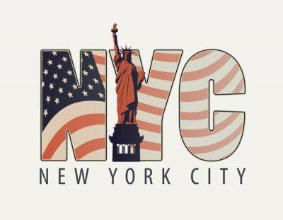 Наклейка Векторный баннер с буквами NYC с изображением американского флага и Статуи Свободы на светлом фоне