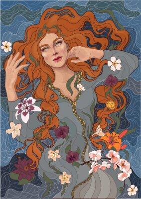 Наклейка вектор красивая рыжеволосая девушка в старомодном платье, волны реки, вода и цветы