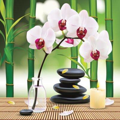 Наклейка Вектор Красивая Spa Состав С Zen Stones