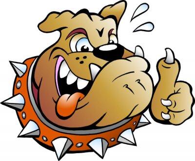 Наклейка Мультфильм векторные иллюстрации возбужденное Bull Собака дает большой палец вверх