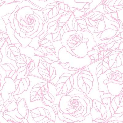 Наклейка Вектор Нежная линия роза рисунок.