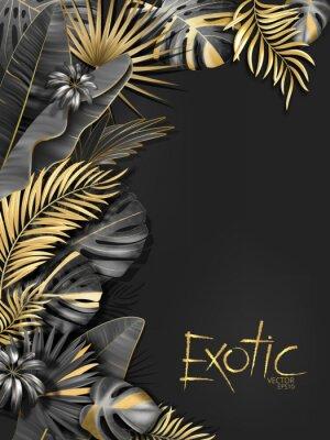 Наклейка Вектор экзотический фон с черными и золотыми тропическими листьями на темно-сером фоне. Роскошный экзотический ботанический дизайн для спа, парфюмерии, косметики, аромата, салона красоты и т. Д.