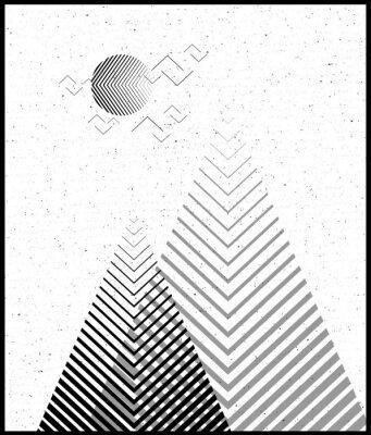 Наклейка Векторный геометрический фон треугольника, абстрактные горы. Концептуальный фон, с горами. Дизайн флага, с минимальными элементами. Используйте для карты, плаката, брошюры, баннера. Черный и белый.