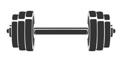 Наклейка Вектор рисованной силуэт гантели, изолированные на белом фоне. Шаблон для спортивного значка, символа, логотипа или другого брендинга. Современная ретро иллюстрация.