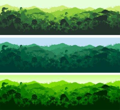 Наклейка Вектор горизонтальные бесшовные тропический лес джунгли фон