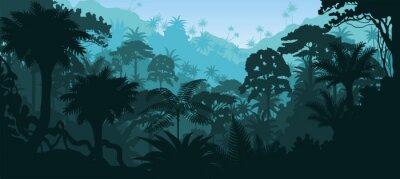 Наклейка Вектор горизонтальные влажные тропические леса джунгли фон