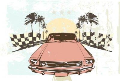 Наклейка Векторная иллюстрация - Высокая скорость гоночный автомобиль на фоне гранж