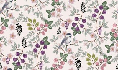 Наклейка Векторная иллюстрация бесшовный цветочный узор с милой птицы весной для свадьбы, юбилея, дня рождения и партии. Дизайн для баннера, плаката, открытки, приглашения и записки