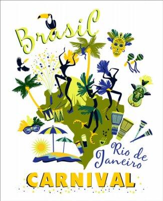 Наклейка Векторная иллюстрация бразильского карнавала.
