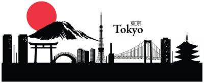 Наклейка Векторная иллюстрация городской пейзаж Токио, Япония
