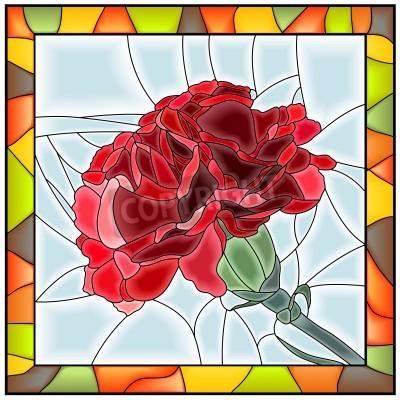 Наклейка Векторная иллюстрация цветок Красная гвоздика витраж с рамкой