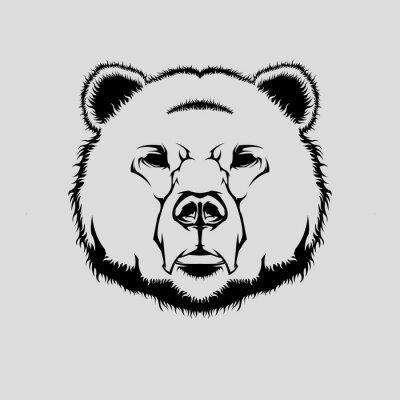 Наклейка Векторная иллюстрация гризли головы медведя