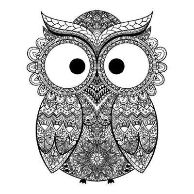 Наклейка Векторная иллюстрация декоративной совы.