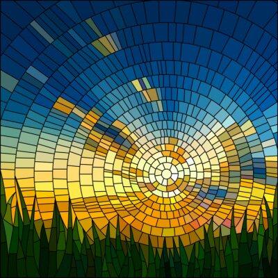 Наклейка Векторные иллюстрации заката в траве.