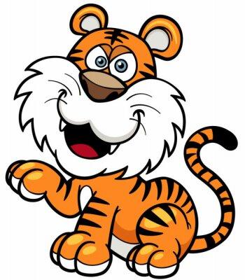 Наклейка Векторная иллюстрация Tiger мультфильма