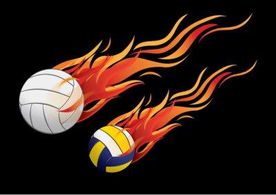 Наклейка векторные иллюстрации волейбол огонь спорт