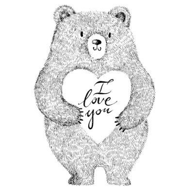 Наклейка Векторная иллюстрация с очаровательны милый медведь