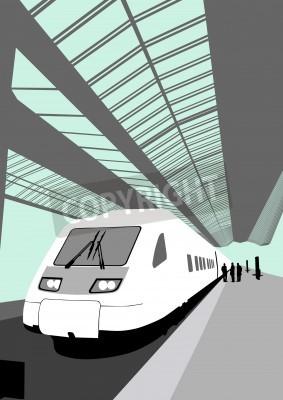 Наклейка Векторное изображение современного высокоскоростного поезда на железнодорожном вокзале