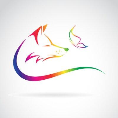 Наклейка Векторное изображение лисы и бабочка на белом фоне