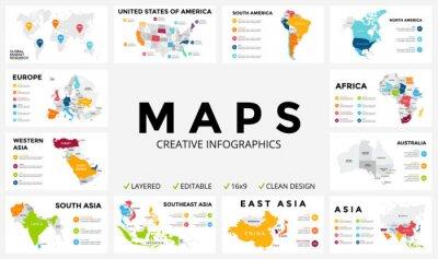 Наклейка Векторная карта инфографики. Слайд-презентация. Концепция глобального маркетинга бизнеса. Цвет страны. Данные мировой географии перевозок. Шаблон экономической статистики. Мир, Америка, Африка, Европа