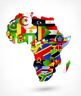 Наклейка Векторная карта Африки с флагами и местоположением на карте мира