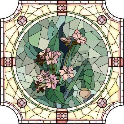 Наклейка Вектор мозаика с крупными ячейками цветов незабудка с бутонами в круглом витражного кадра.