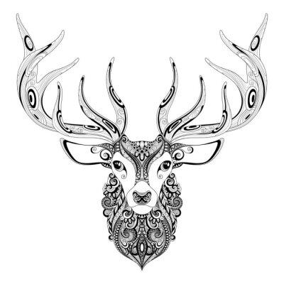 Наклейка Вектор богато украшенный Олень рогатую голову