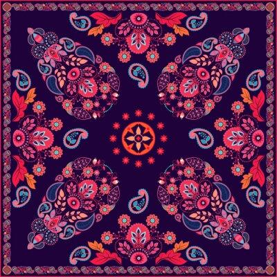 Наклейка Вектор Пейсли квадратный дизайн цветочный
