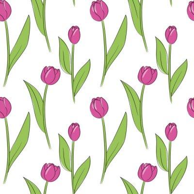Наклейка вектор розовый простой тюльпан цветы бесшовные шаблон