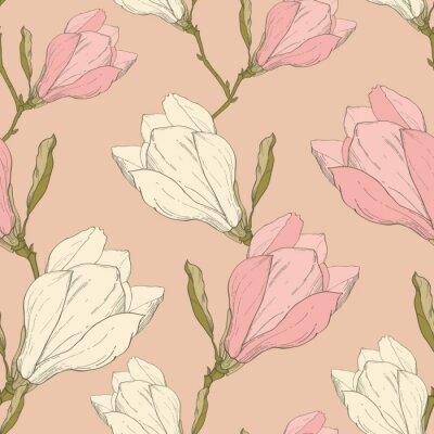 Наклейка Вектор Розовый Урожай Магнолия Цветы Ткань Ретро Повторяя бесшовные модели рисованной В ботаническом стиле. Идеально подходит для ткани, обои, Тара и упаковка, обои, поздравительные открытки.