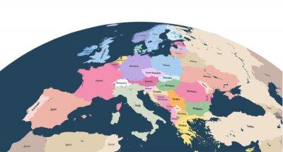 Наклейка векторная планета Земной шар с крупным планом континента Европы