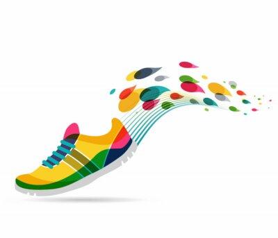 Наклейка Вектор плакат - бег и спорт