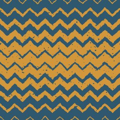 Наклейка Вектор бесшовные Синий Желтый цвет рисованной Горизонтальный градиент Полутона ZigZag Искаженные Линии Шероховатый этнической картины