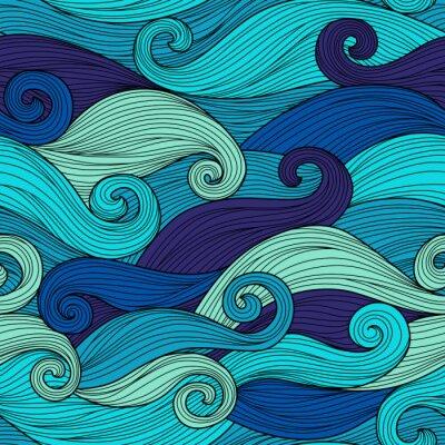 Наклейка Вектор бесшовные шаблон с абстрактными волнами