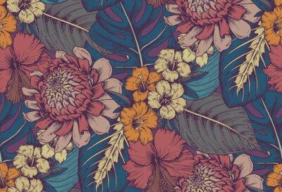 Наклейка Векторный бесшовные модели с композициями рисованной тропических цветов