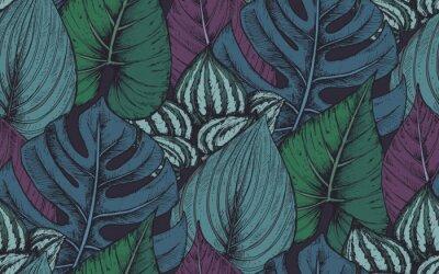 Наклейка Векторный бесшовные модели с композициями рисованной тропических растений
