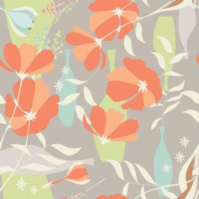 Наклейка Вектор бесшовные модели с цветочными элементами, весенние цветы, ро