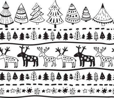 Наклейка Вектор бесшовные модели с рисованной элементами Рождество