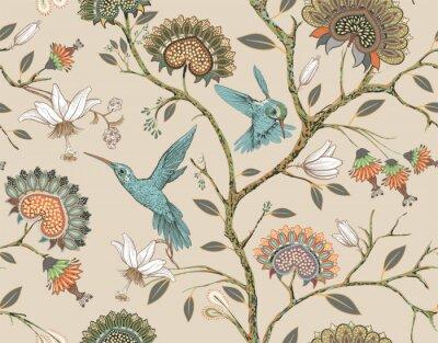 Наклейка Вектор бесшовный образец со стилизованными цветами и птицами. Цветущий сад с колибри и растениями. Легкие цветочные обои. Дизайн для ткани, текстиля, обоев, обложки, оберточной бумаги.