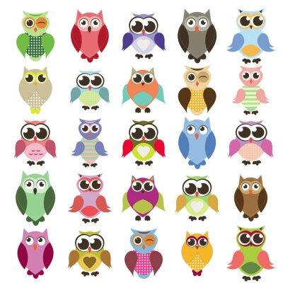 Наклейка vector set of owls
