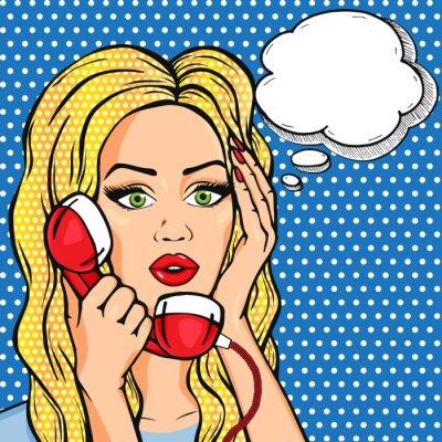 Наклейка Вектор шокирован женщина по телефону с мысли пузырь, векторные поп-арт стиле комиксов