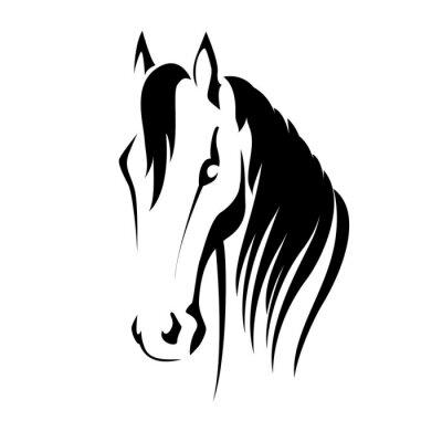 Наклейка Вектор силуэт головы лошади