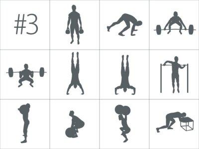 Наклейка Векторные силуэты людей, занимающихся фитнесом и перекрестными тренировками