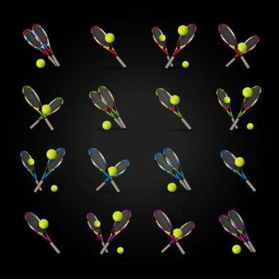 Наклейка Вектор теннисные символы как элементы дизайна, теннисные мячи, теннисный г