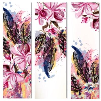 Наклейка Вектор вертикальные брошюры набор с цветами магнолии и перьев